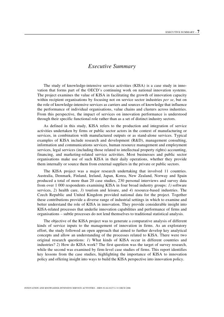 EXECUTIVE SUMMARY –   7                                                        Executive Summary                 The study...