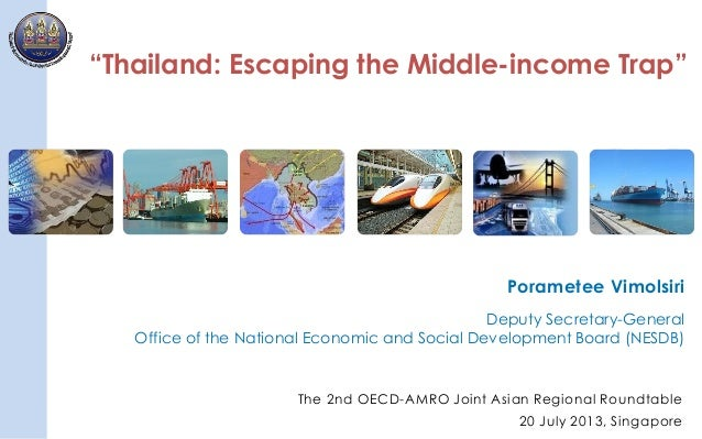 """1 """"Thailand: Escaping the Middle-income Trap"""" Porametee Vimolsiri Deputy Secretary-General Office of the National Economic..."""