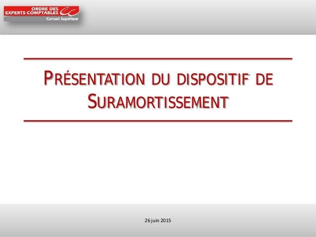 PRÉSENTATION DU DISPOSITIF DE SURAMORTISSEMENT 26 juin 2015