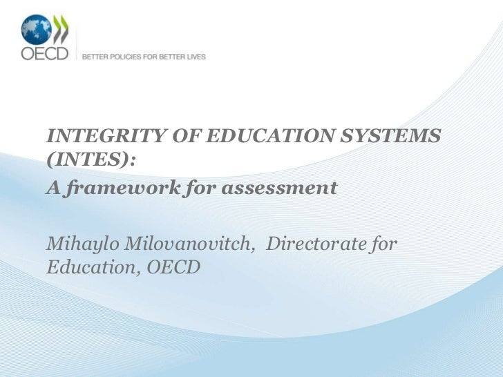 Integrity of education systems – a framework for assessment
