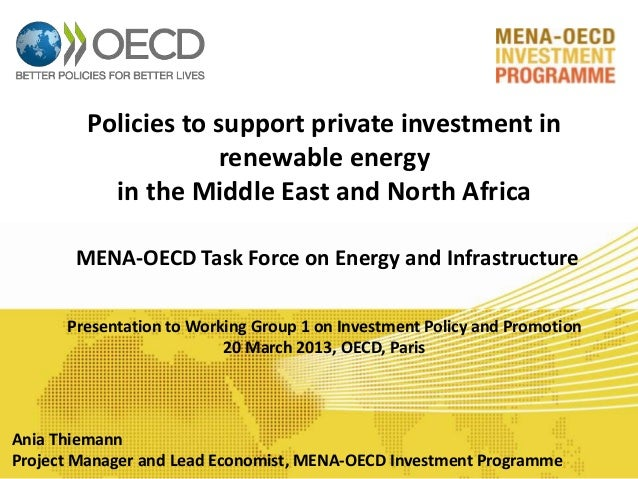 Renewable energies in the Middle East and North Africa: Policies to support private investment
