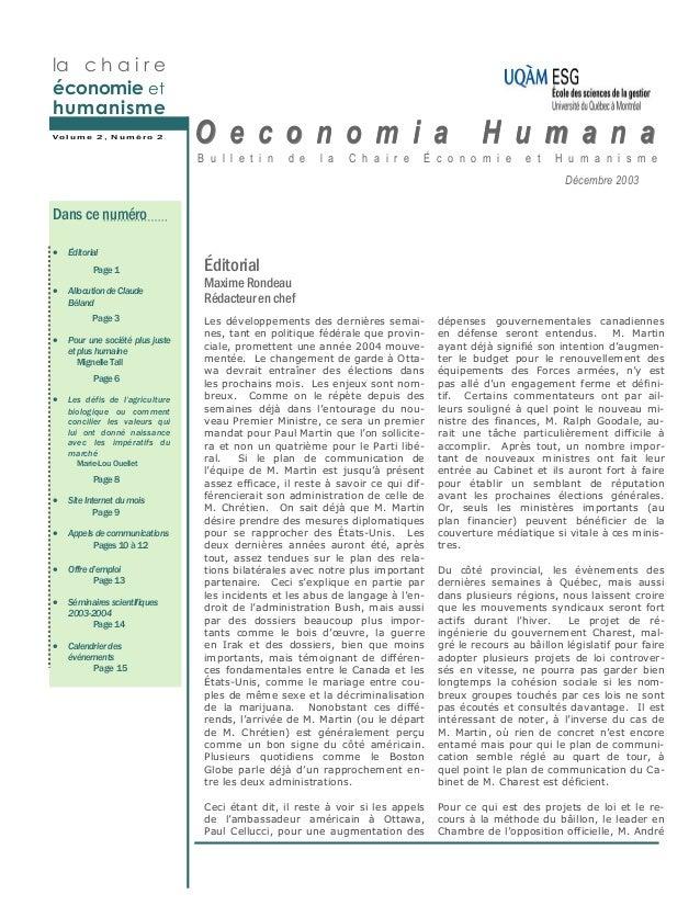 la c h a i r eéconomie ethumanismeVolume 2, Numéro 2                                O e c o n o m i a                     ...