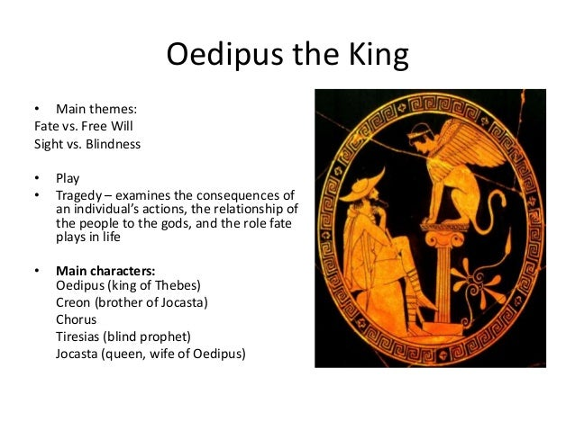 king oedipus and his fate Oedipus the king unfolds as  the power of fate in the oedipus  realizing that he has killed his father and married his mother, oedipus is agonized by his fate.