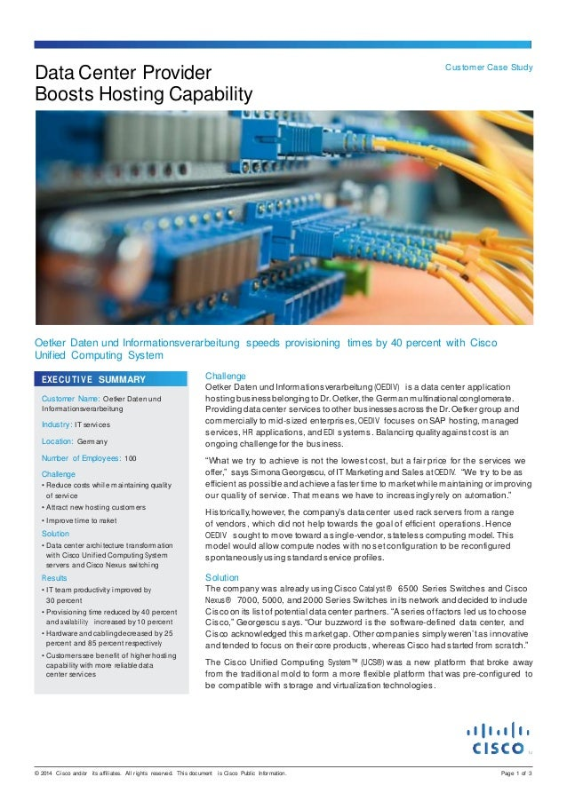 © 2014 Cisco and/or its affiliates. All rights reserved. This document is Cisco Public Information. Page 1 of 3 Data Cente...