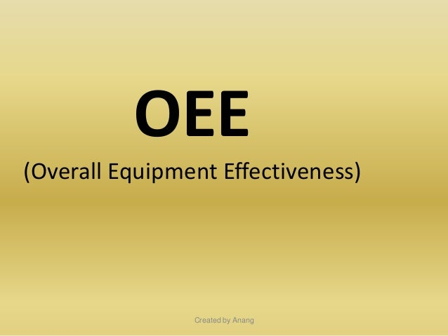 OEE (Overall Equipment Effectiveness)  Created by Anang