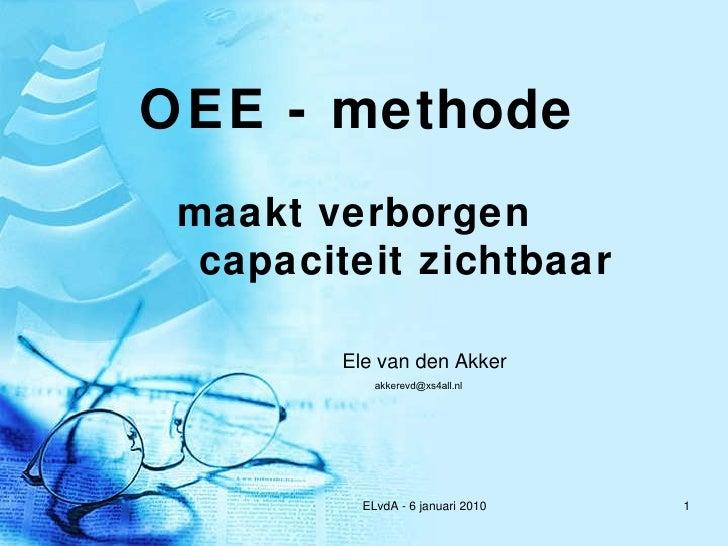 OEE - methode maakt verborgen capaciteit zichtbaar Ele van den Akker [email_address]