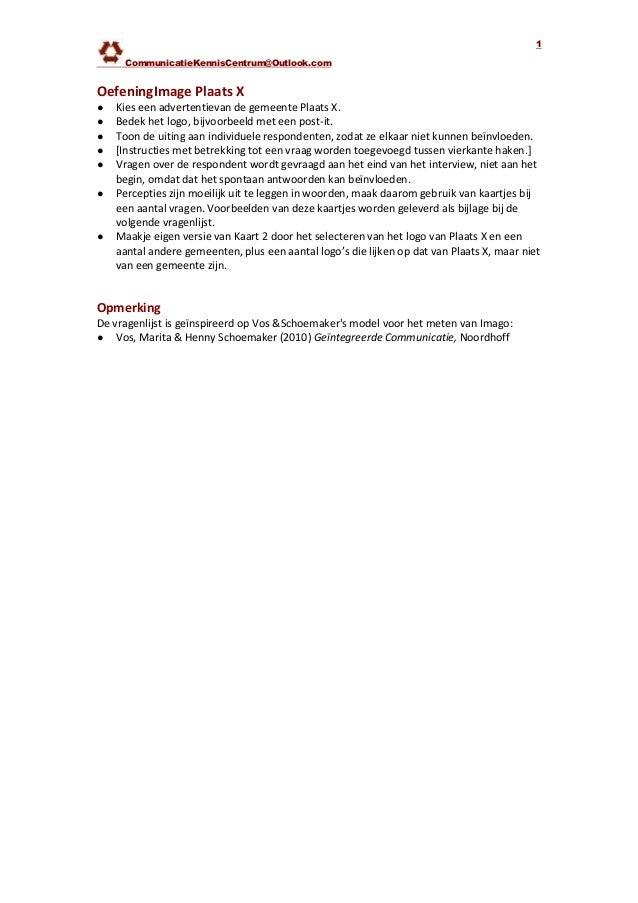 CommunicatieKennisCentrum@Outlook.com1OefeningImage Plaats X● Kies een advertentievan de gemeente Plaats X.● Bedek het log...