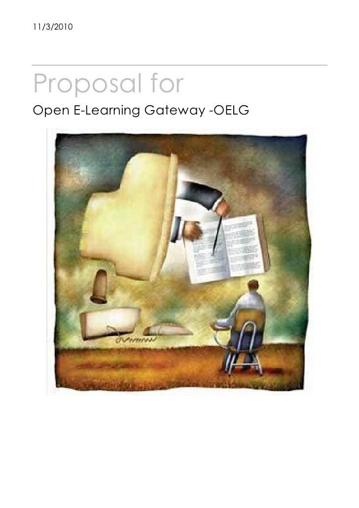 11/3/2010Proposal forOpen E-Learning Gateway -OELG