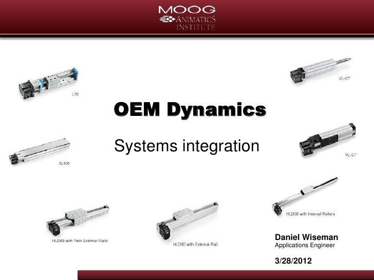 OEM DynamicsSystems integration                      Daniel Wiseman                      Applications Engineer            ...