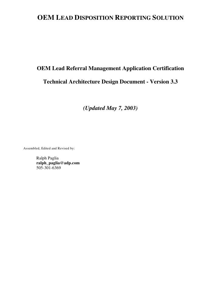 OEM LEAD DISPOSITION REPORTING SOLUTION             OEM Lead Referral Management Application Certification              Te...