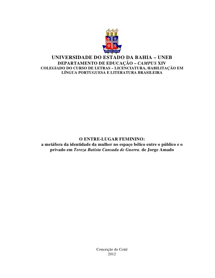 UNIVERSIDADE DO ESTADO DA BAHIA – UNEB        DEPARTAMENTO DE EDUCAÇÃO – CAMPUS XIVCOLEGIADO DO CURSO DE LETRAS – LICENCIA...