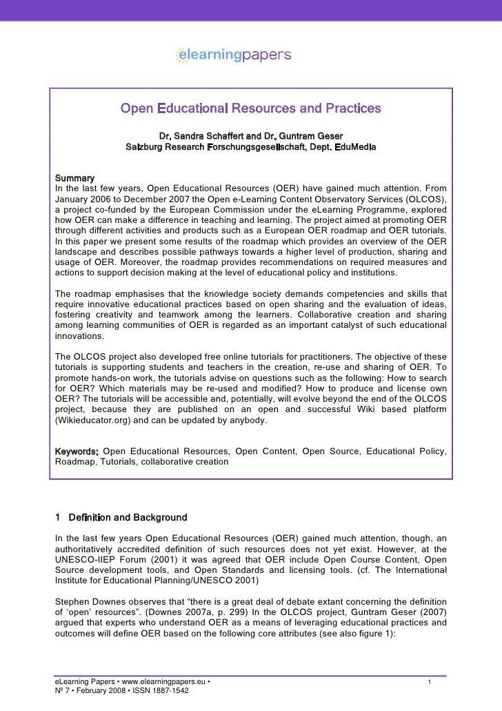 Open Educational Resources and Practices                           Dr. Sandra Schaffert and Dr. Guntram Geser             ...