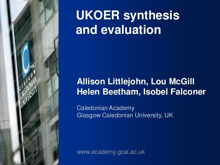 UKOER synthesis and evaluation Phase III Start-Up Nov2011                                                            UKOER...
