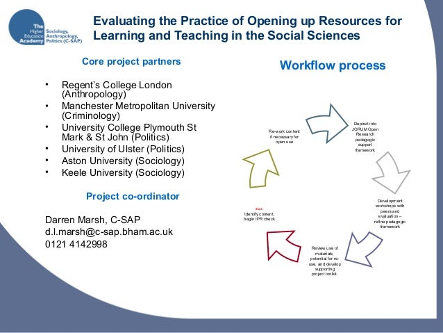 Evaluating the Practice of Opening up Resources for Learning and Teaching in the Social Sciences Core project partners • R...