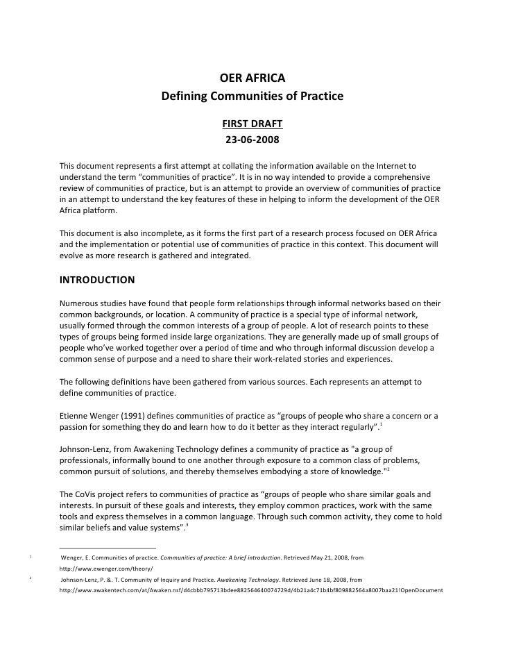 OER AFRICA                                        Defining Communities of Practice                                        ...