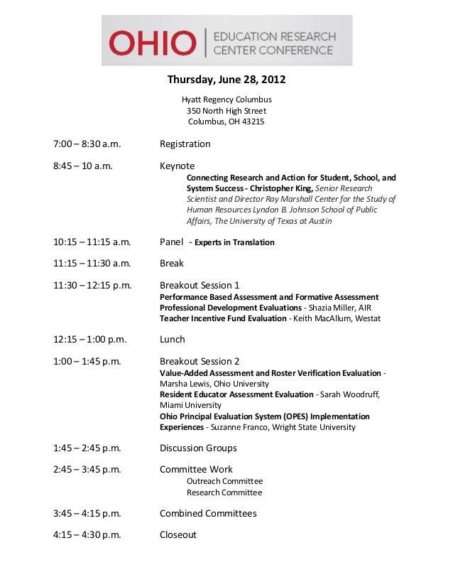 Thursday, June 28, 2012                          Hyatt Regency Columbus                           350 North High Street   ...