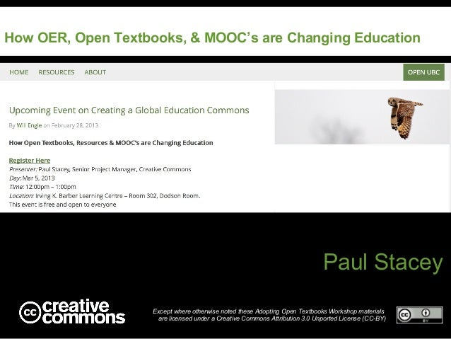 How OER, Open Textbooks, & MOOC's are Changing Education                                                                  ...