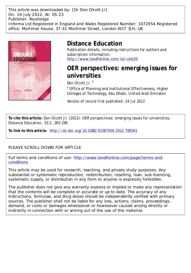 This article was downloaded by: [Dr Don Olcott Jr] On: 24 July 2012, At: 05:23 Publisher: Routledge Informa Ltd Registered...