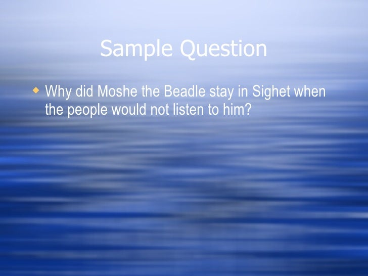 how did elie meet moshe the beadle auschwitz