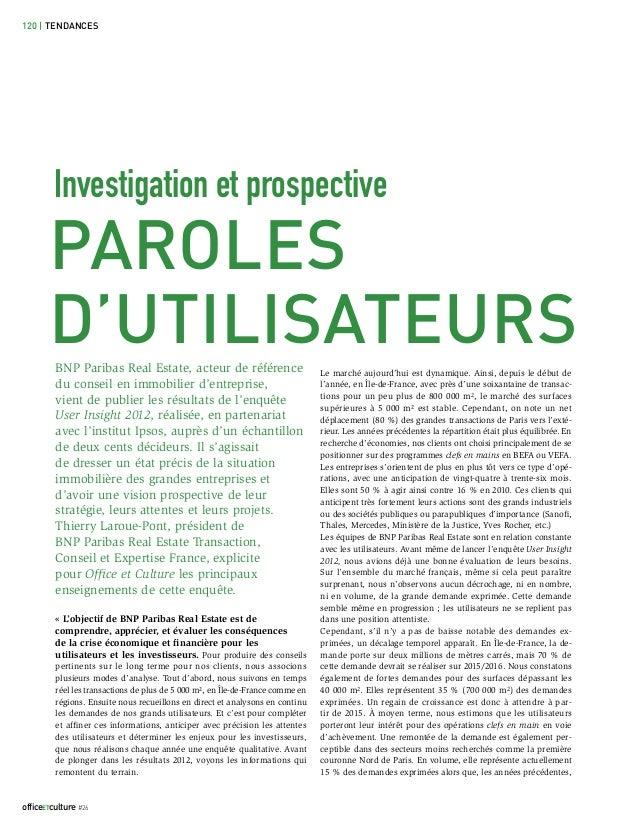 120 | TENDANCES         Investigation et prospective       PAROLES       D'UTILISATEURS         BNP Paribas Real Estate, a...