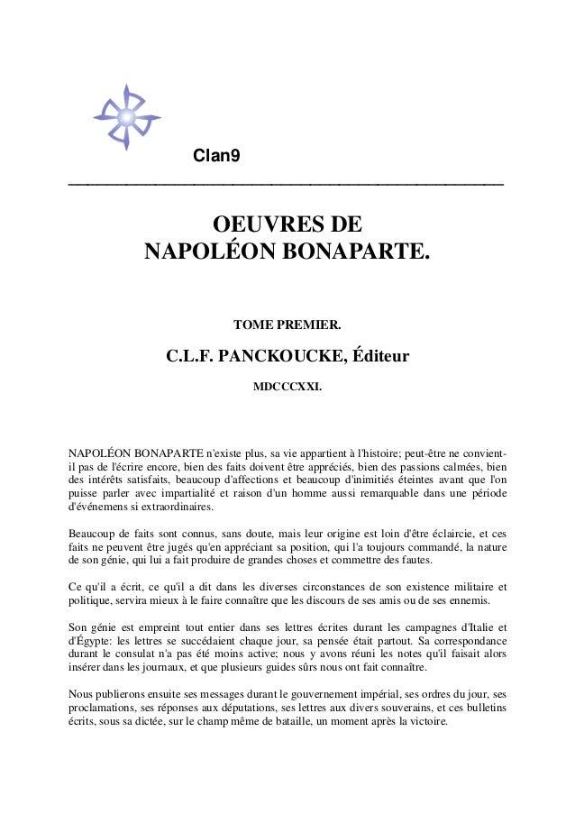 Clan9 _____________________________________________ OEUVRES DE NAPOLÉON BONAPARTE. TOME PREMIER. C.L.F. PANCKOUCKE, Éditeu...