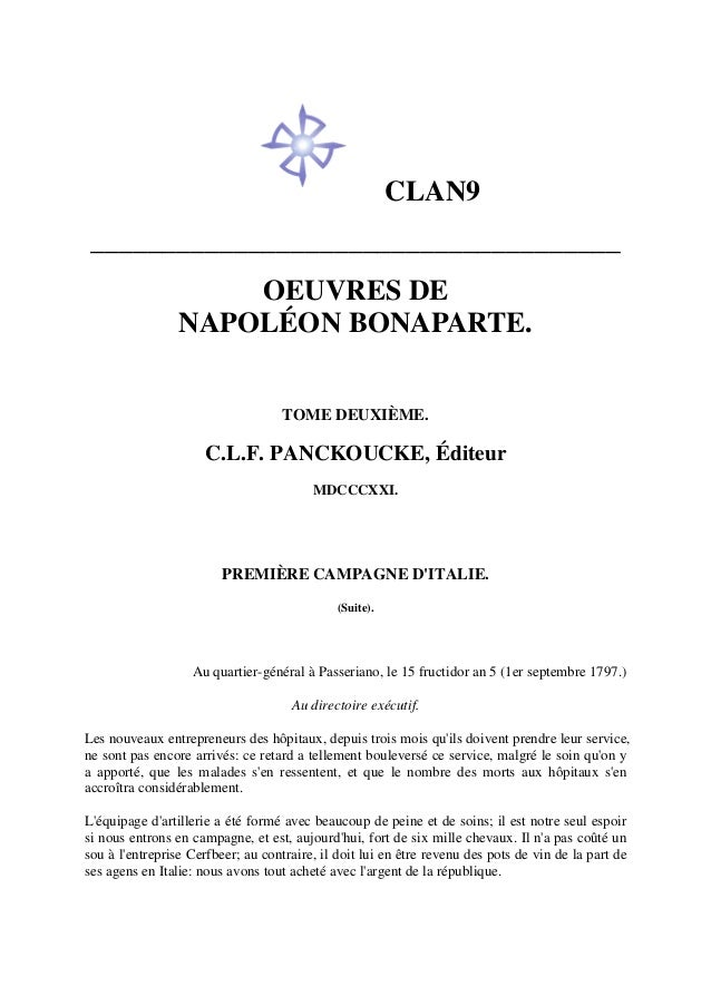 CLAN9 _____________________________________ OEUVRES DE NAPOLÉON BONAPARTE. TOME DEUXIÈME. C.L.F. PANCKOUCKE, Éditeur MDCCC...
