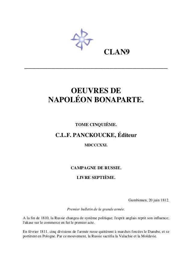 CLAN9 _____________________________________ OEUVRES DE NAPOLÉON BONAPARTE. TOME CINQUIÈME. C.L.F. PANCKOUCKE, Éditeur MDCC...