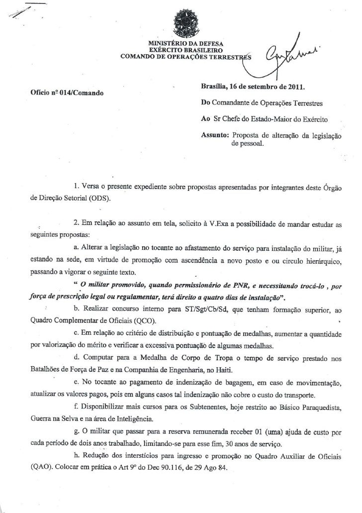 Ofício COTER: mudanças na carreira das praças do Exército Brasileiro