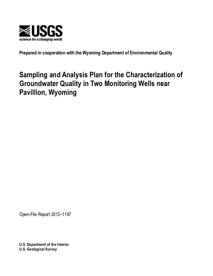USGS Sampling and Analysis Plan for 2 Test Water Wells in Pavillion, WY