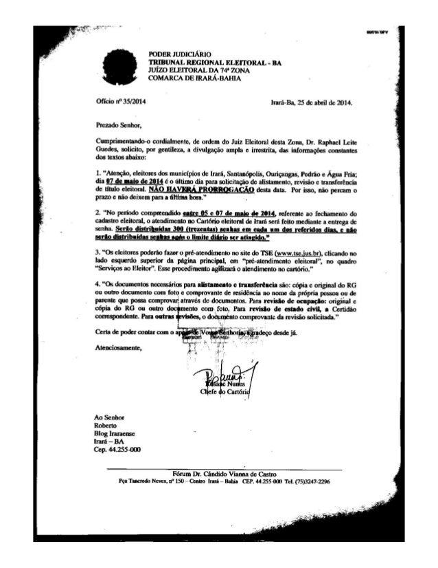 Of 35 JUSTIÇA ELEITORAL - IRARÁ 04/2014