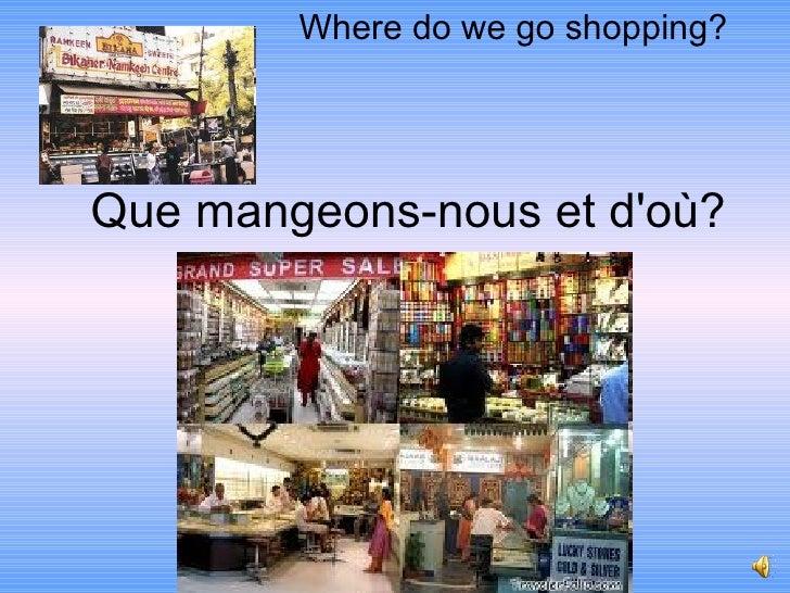 Where do we go shopping?Que mangeons-nous et doù?