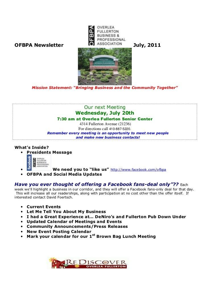 "OFBPA Newsletter                                                       July, 2011          Mission Statement: ""Bringing Bu..."