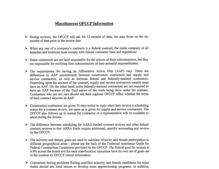 OFCCP Miscellaneous Tips & Information
