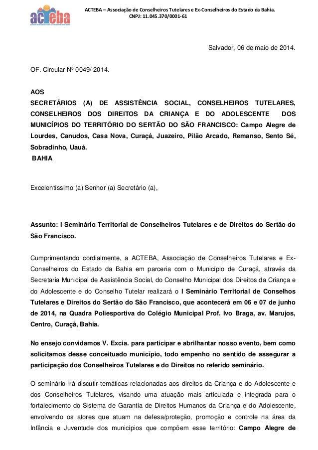 I Seminário Territorial de Conselheiros Tutelares e Direito do Sertão do São Francisco