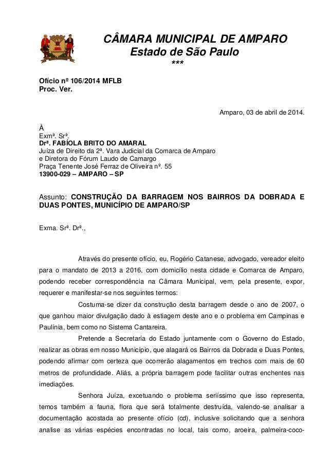 CÂMARA MUNICIPAL DE AMPARO Estado de São Paulo *** Ofício nº 106/2014 MFLB Proc. Ver. Amparo, 03 de abril de 2014. À Exmª....