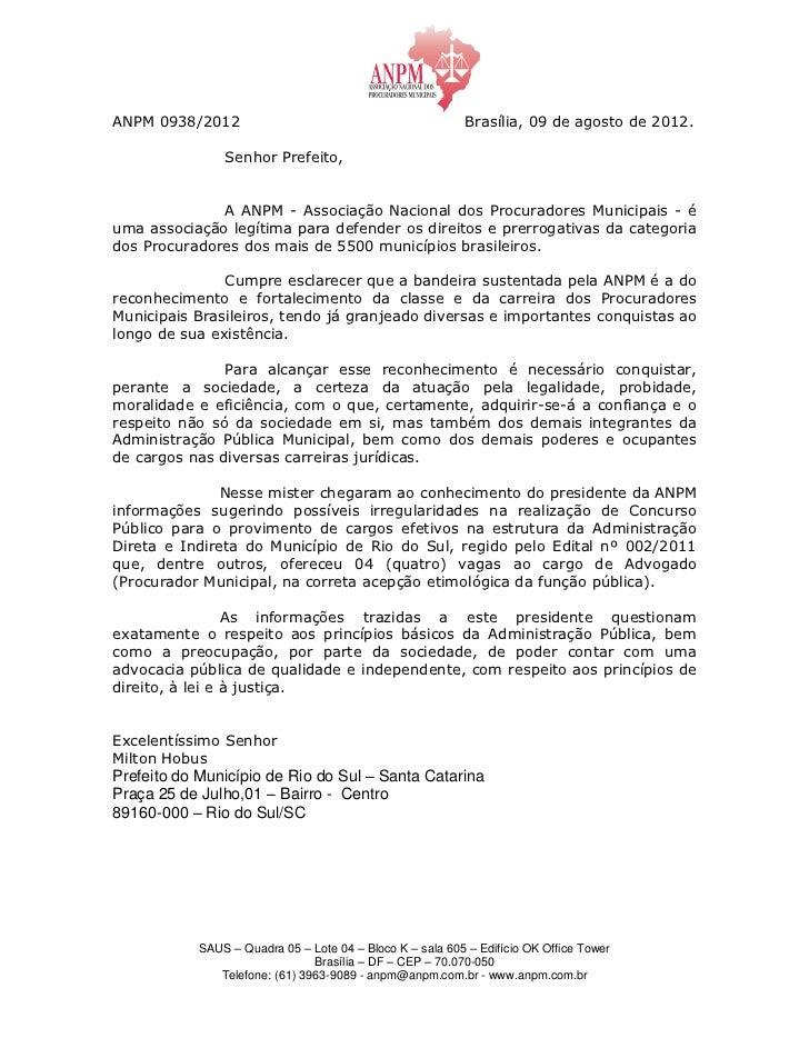 ANPM 0938/2012                                             Brasília, 09 de agosto de 2012.                Senhor Prefeito,...