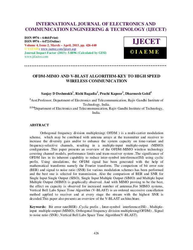 Ofdm mimo and v-blast algorithm-key to high speed wireless communication