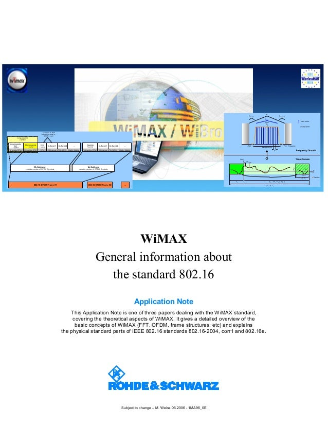 Subject to change – M. Weiss 06.2006 - 1MA96_0E WiMAX General information about the standard 802.16 Application Note This ...