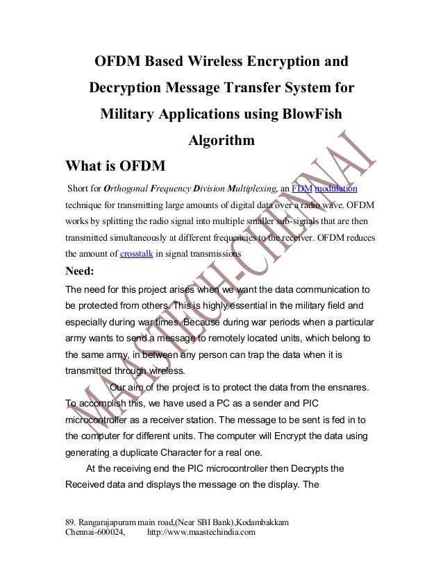 OFDM Based Wireless Encryption and Decryption Message Transfer System for Military Applications using BlowFish Algorithm W...