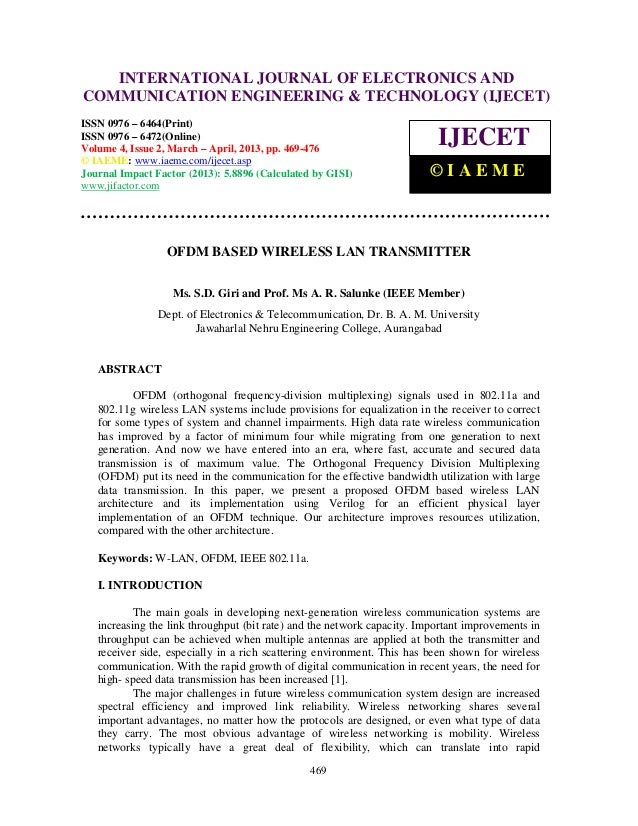 Ofdm based wireless lan transmitter