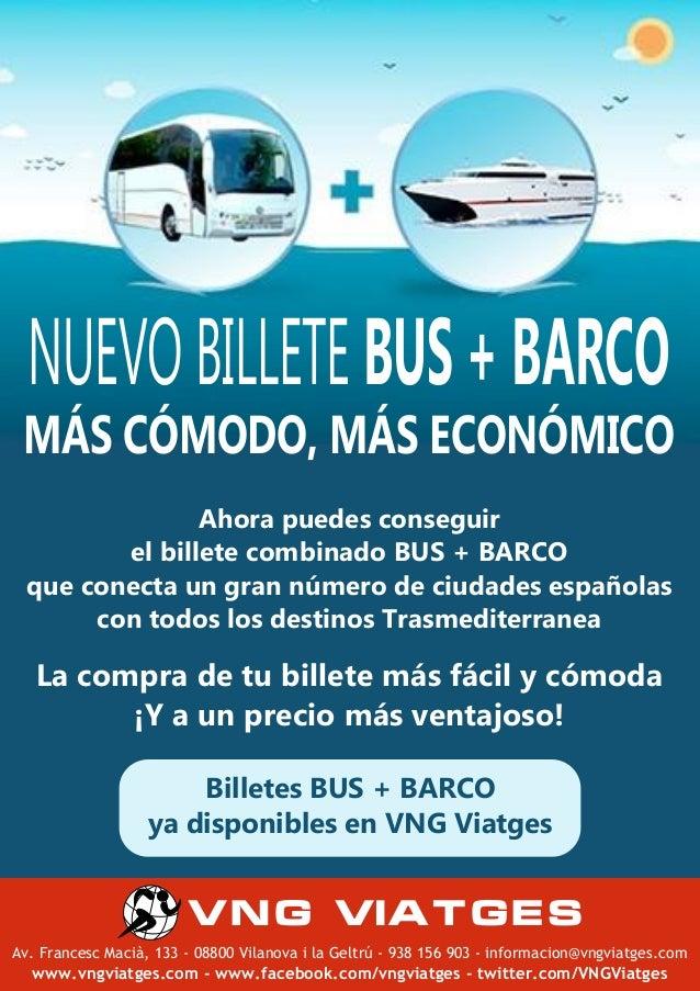 NUEVO BILLETE COMBINADO BUS-BARCO TRANSMEDITERRANEA