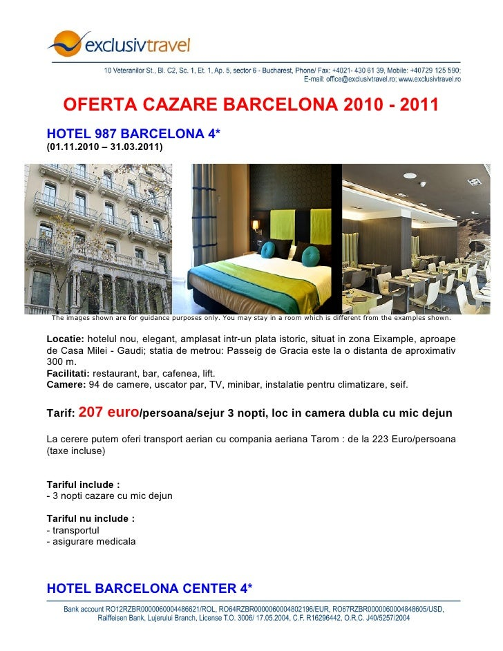 Oferta cazare Barcelona - 2010-2011