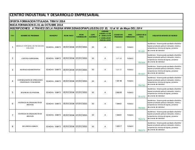 CENTRO INDUSTRIAL Y DESARROLLO EMPRESARIAL OFERTA FORMACION TITULADA: TRM IV 2014 INICIA FORMACION EL 01 de OCTUBRE 2014 I...