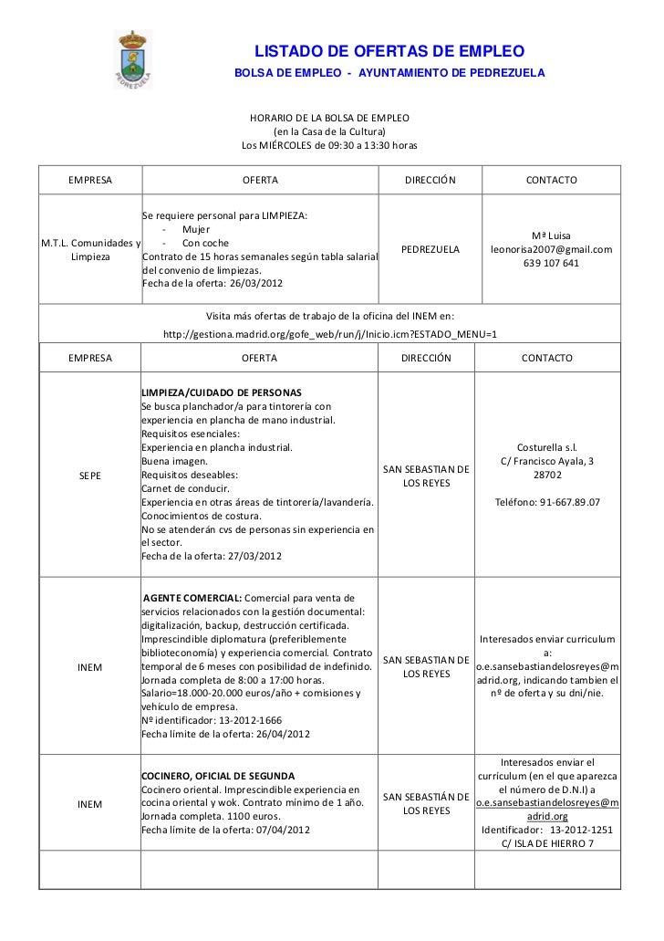LISTADO DE OFERTAS DE EMPLEO                                         BOLSA DE EMPLEO - AYUNTAMIENTO DE PEDREZUELA         ...