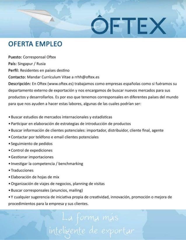 Oferta trabajo exportación para Rusia y Singapur. Oftex