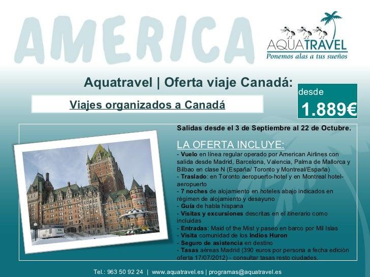 Viajes organizados a Canadá