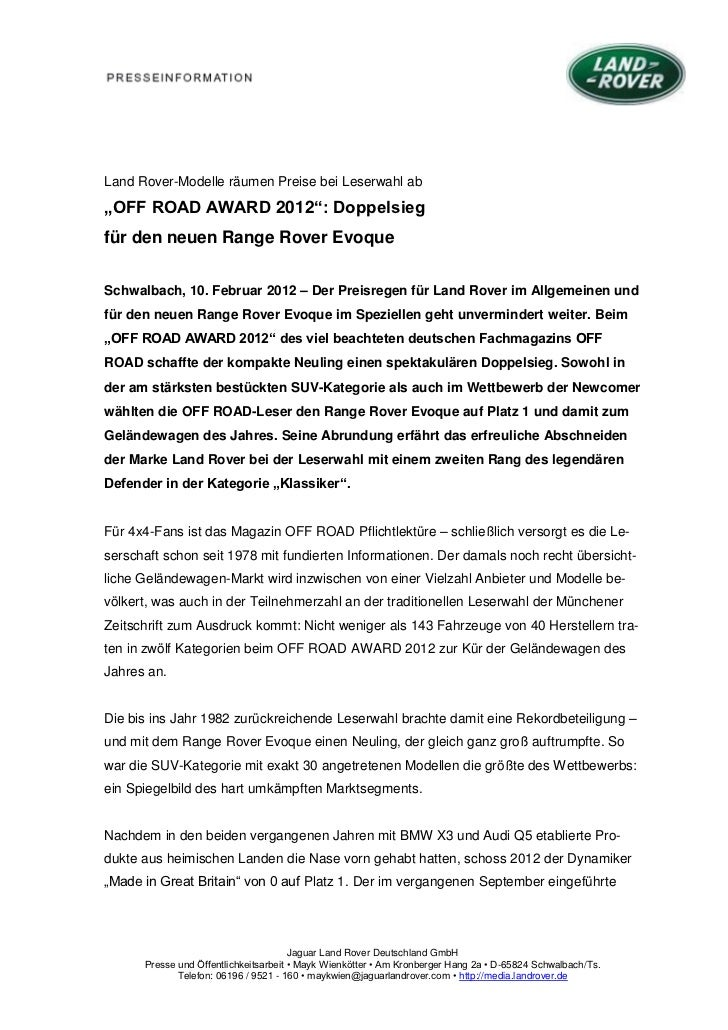 """Land Rover-Modelle räumen Preise bei Leserwahl ab""""OFF ROAD AWARD 2012"""": Doppelsiegfür den neuen Range Rover EvoqueSchwalba..."""