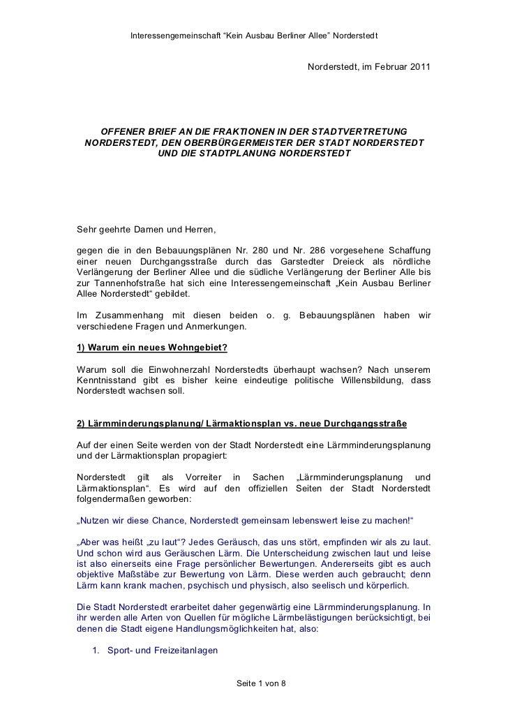 """Interessengemeinschaft """"Kein Ausbau Berliner Allee"""" Norderstedt                                                         No..."""