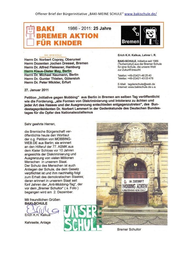 "Offener Brief der Bürgerinitiative ""BAKI-MEINE SCHULE"" www.bakischule.de/"