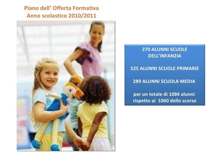 Piano dell' Offerta Formativa Anno scolastico 2010/2011 270 ALUNNI SCUOLE DELL'INFANZIA 525 ALUNNI SCUOLE PRIMARIE 289 ALU...